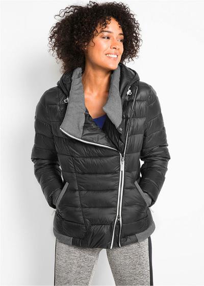 Ciepła zimowa kurtka pikowana outdoorowa czarna