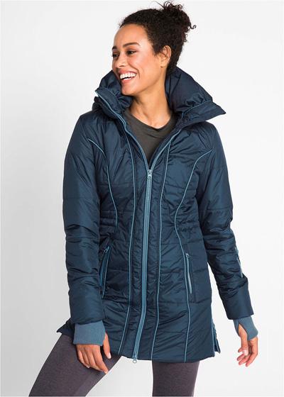 Ciepła zimowa kurtka damska długa sportowa granatowa