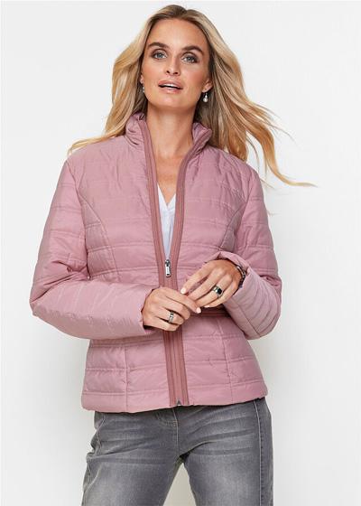 Lekka kurtka pikowana bez kaptura różowa