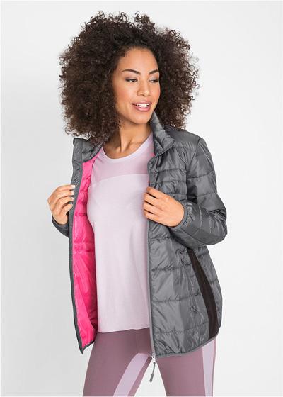 Jesienna kurtka pikowana damska szara