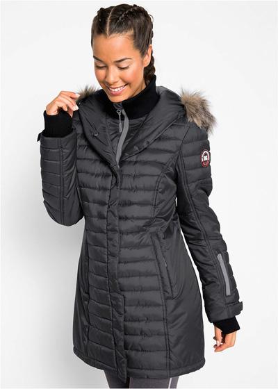Długa ciepła kurtka outdoorowa pikowana szara