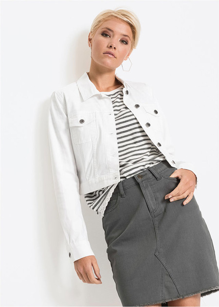 Krótka kurtka dżinsowa biała