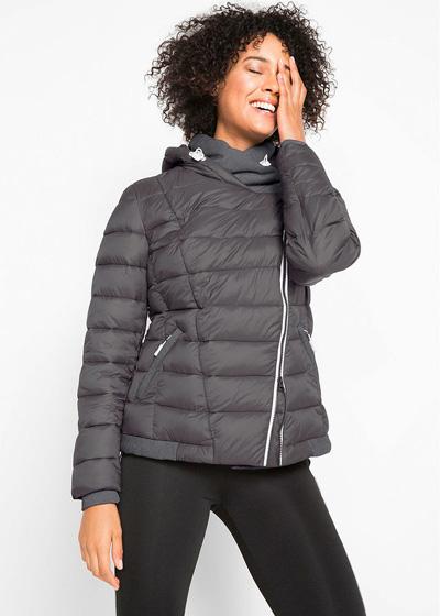 Ciepła zimowa kurtka pikowana outdoorowa szara