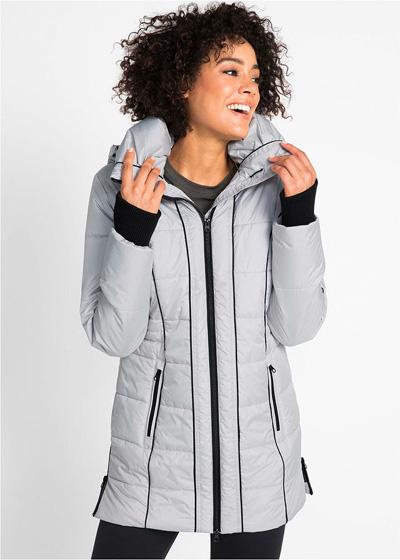 Ciepła zimowa kurtka damska długa sportowa srebrna