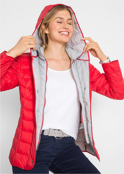 Jesienna kurtka damska z kapturem 2 w 1 czerwona