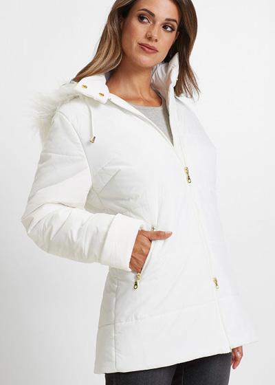 Ciepła kurtka pikowana z futerkiem biała