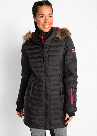 Długa ciepła kurtka outdoorowa pikowana czarna