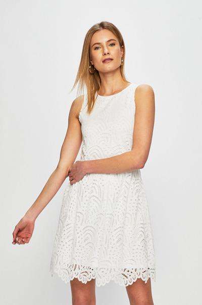 Biała sukienka koronkowa bez rękawów