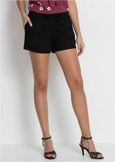 Szorty damskie krótkie spodenki lniane czarne