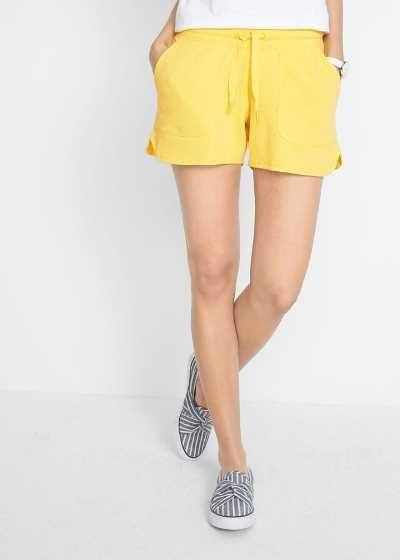 Szorty dresowe damskie z wiązanym paskiem żółte