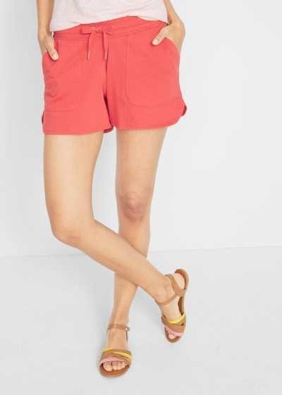 Szorty dresowe damskie z wiązanym paskiem czerwone
