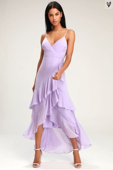 RIGHT THIS SWAY LAVENDER RUFFLED MAXI DRESS