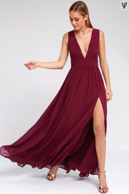 HEAVENLY HUES BURGUNDY MAXI DRESS LULUS