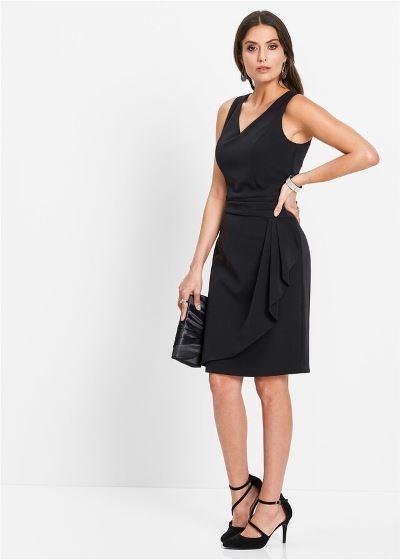 Elegancka sukienka ołówkowa bez rękawów czarna