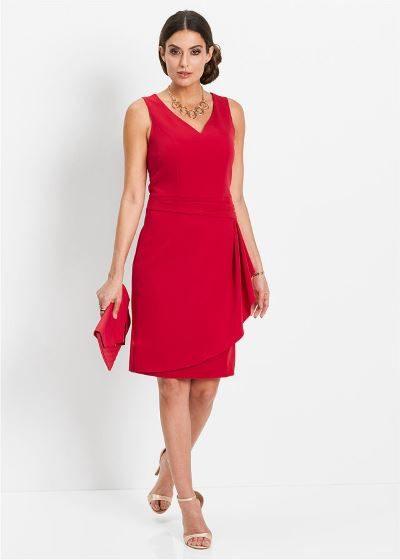 Elegancka sukienka ołówkowa bez rękawów czerwona