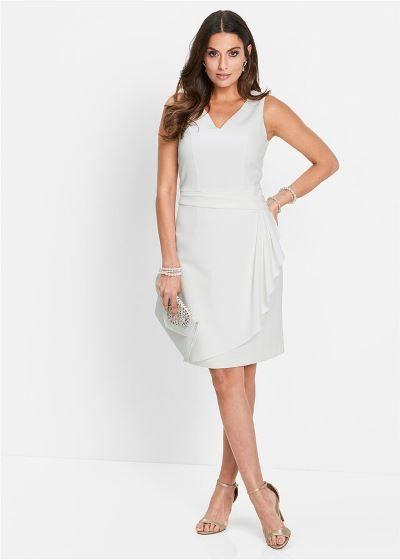 Elegancka sukienka ołówkowa bez rękawów biała