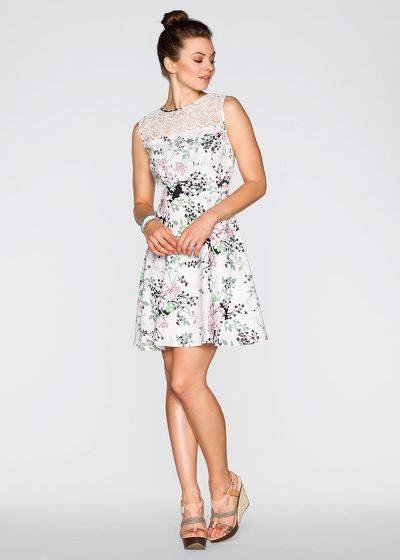 Letnia sukienka z koronkową wstawką biała