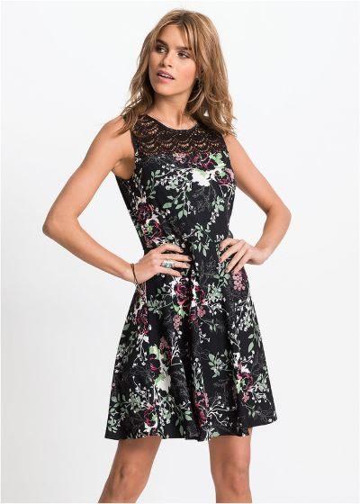 Letnia sukienka z koronkową wstawką czarna