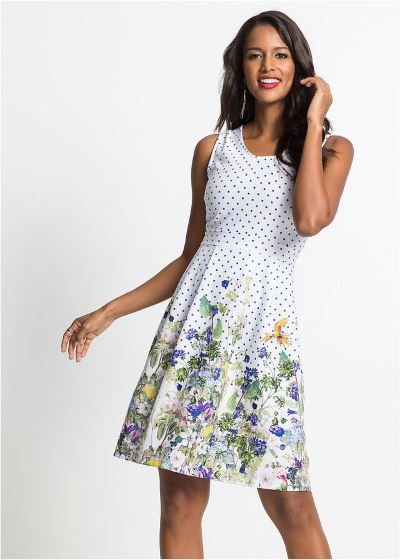 Letnia sukienka w kwiaty i kropki biała