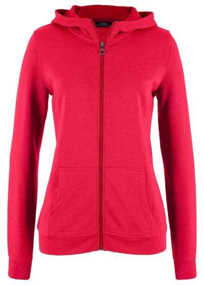 Bluza rozpinana z kapturem damska czerwona