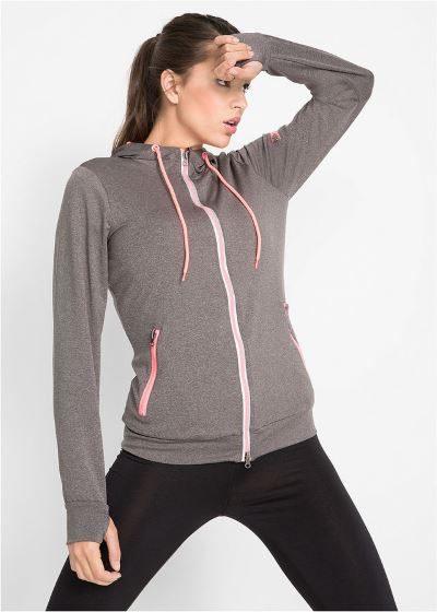 Treningowa bluza damska z otworem na kciuk szara