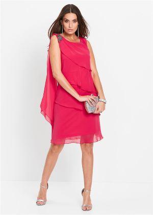 Elegancka różowa sukienka szyfonowa Premium